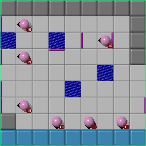 A layout of Chip's Challenge showing many deadly bouncing balls.