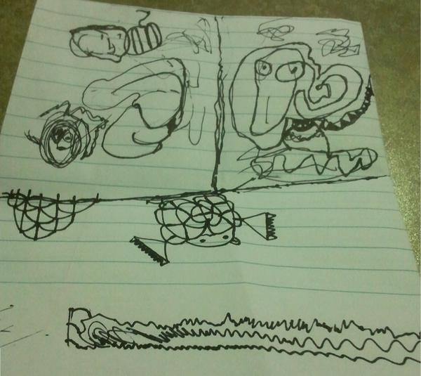 Trisection of some creature piloting a spaceship of a sort, a turtle hanging off of a ledge and wearing clumpy boots, and three very different characters hanging about.